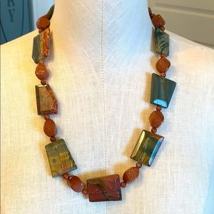 Natural large stone chunky long statement necklace